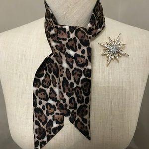WHBM Leopard Print Mini Silk Scarf